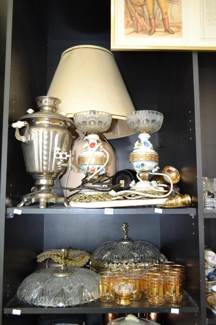TWO SHELVES OF ASSORTED ITEMS, INCL A SAMOVAR AND LAMPS