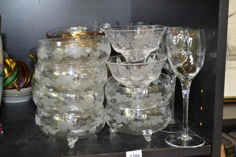 A PART SHELF OF CRYSTAL INCL. STUART DESSERT COMPORTS AND GILDED BOWLS