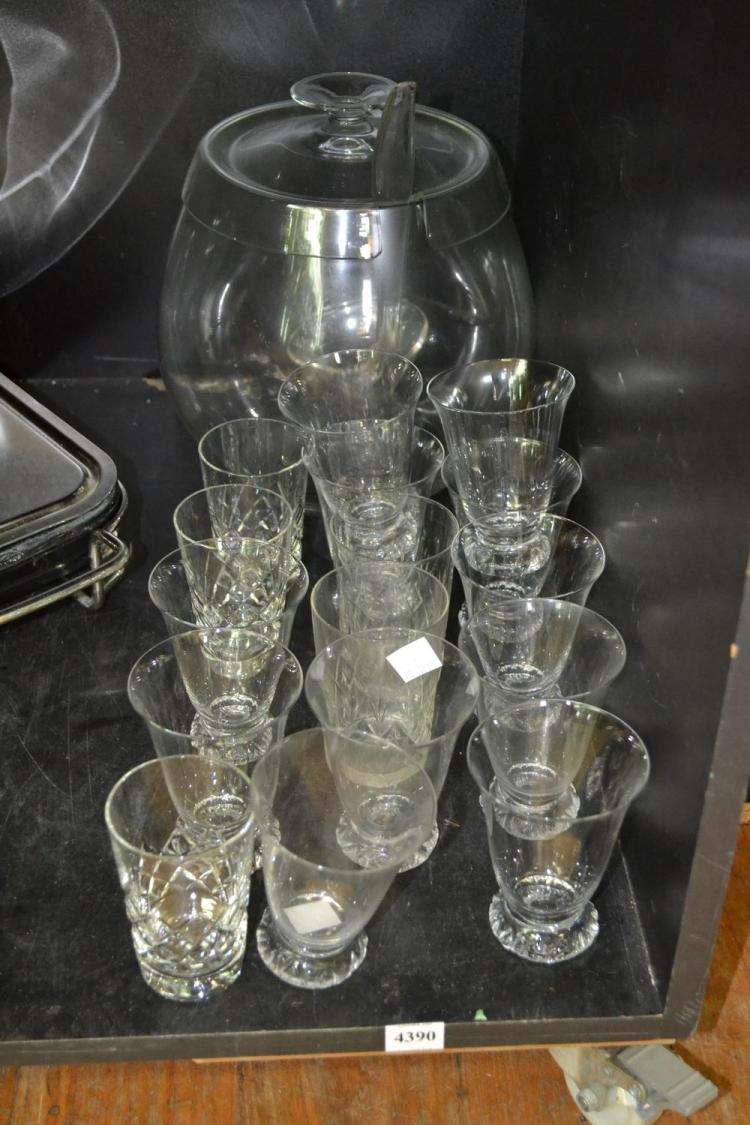 A PART SHELF OF ASSORTED GLASSWARE INCL. A BUNCH BOWL