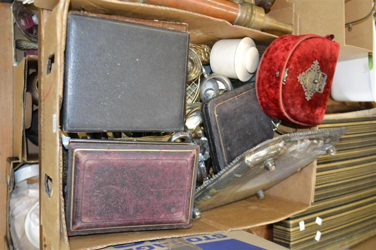 TWO BOXES OF SILVERPLATE AND OTHER ITEMS INCL. A VICTORIAN MANICURE BOX