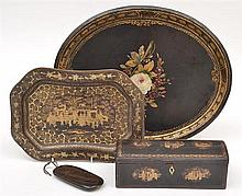 THREE PIECES OF CHINOISERIE LACQUER WARE AND A PAINTED TIN TRAY