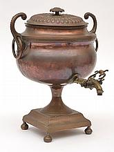 AN EARLY 19TH CENTURY COPPER AND BRASS SAMOVAR