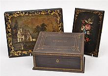 TWO VICTORIAN PAINTED AND LACQUERED ADDRESS BOOK COVERS AND AN EMBOSSED LEATHER STATIONARY BOX