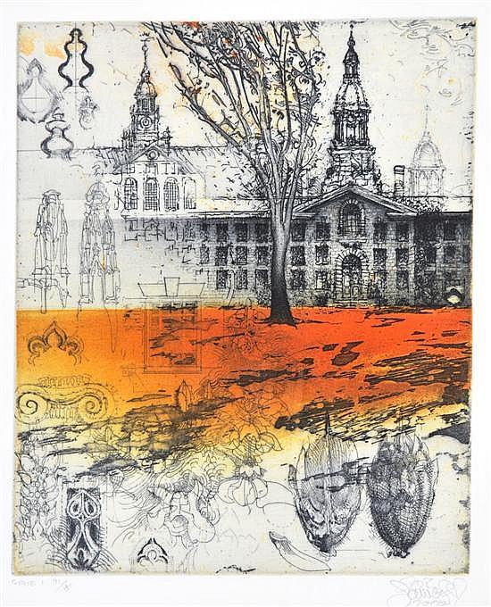 Jorg Schmeisser (born 1942) Princeton, Near Alexander Mall 2000 etching 3/5 (1st state)
