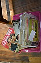 ONE BOX OF ASSORTED VINTAGE MAGZINES, CLIPPINGS, CLOTHING PATTERNS ETC