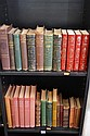 THREE SHELVES OF ASSORTED VINTAGE BOOKS INCL LEATHER BOUND