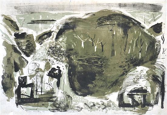 MARY MACQUEEN (1912-1994) Crater Country 1959 lithograph