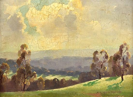 A.E. NEWBURY (1891-1941) The Valley oil on canvas on board