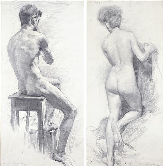 CHARLES WHEELER (1881-1977) Pair of Nude Studiesi) Seated Malesigned 'C. Wheeler' lower left95.5 x 49.5cmii) Standing Femalesigned '