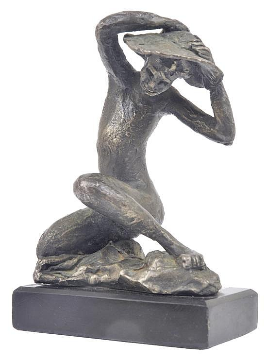LENORE BOYD (BORN 1953) Woman Wearing Sunhat bronze on stone base