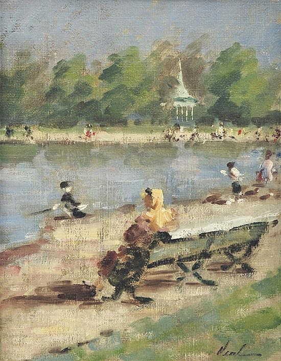 § HAYWARD VEAL (1913-1968) Kensington Round Pond 1952 oil on canvas on board