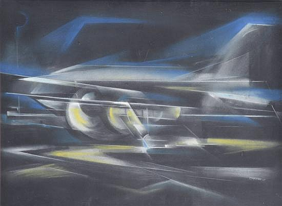 FRANK HINDER (1906-1992) Flight E.M 513 1957 pastel
