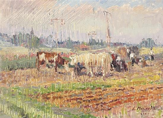 LUDMILLA MEILERTS (1908-1998) European Landscape with Cattle 1946 oil on board