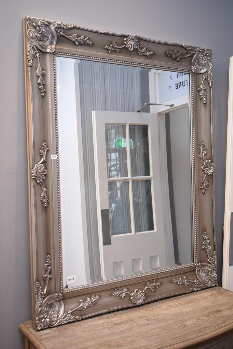 A decorative silver framed mirror 100 x 100cm for Miroir 100 x 40