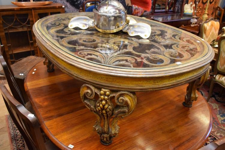 A Rococo Style Glass Top Rounded Coffee Table