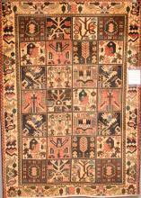 AN OLD COLLECTABLE BAKHTIARI PERSIAN GARDEN DESIGN 100% WOOL PILE, VERY DECORATIVE, ORIGIN IRAN (203 X 147) (RRP $2500)
