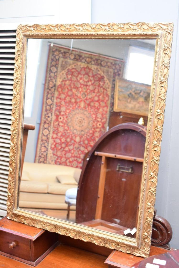 A rectangular gold leaf mirror and a small timber framed mir for Small gold framed mirrors