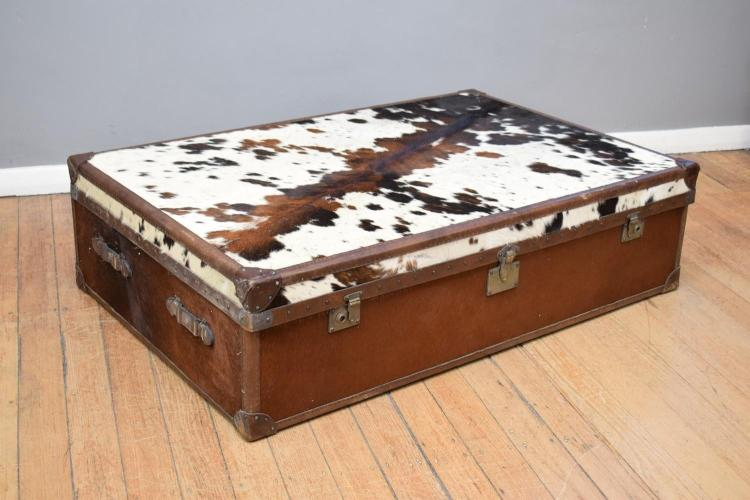A Contemporary Cowhide Covered Coffee Table Storage Chest W
