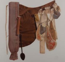 TIM STORRIER (born 1949) Saddle 1982 mixed media and watercolour on paper laid on board