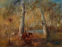 HUGH SAWREY (1923-1999) Plant Horse by Condamine River, Queensland oil on canvas