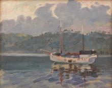 ATTRIBUTED TO CHARLES BRYANT (1883-1937) Evening Raboul oil on canvasboard