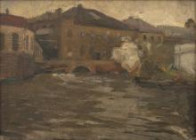 GEORGE BELL (1878-1966) Houses by the River, Europe oil on canvasboard