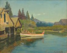 GORDON COUTTS (c.1875-1937) Lakehouse oil on canvasboard