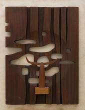 VINCAS JOMANTAS (1922-2001) Construction sculpted wood assemblage mounted on board