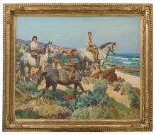 HAROLD SEPTIMUS POWER (1878-1951) Judith, Ralph and David Wilson on Horseback by Sea 1945 oil on canvas in original John Thallon frame