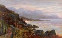 ABRAHAM DE SMIDT (South African, 1828 - 1908) Apostle Mountains and Coast gouache on board