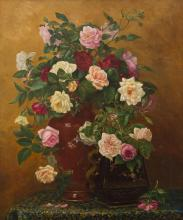 KATE EARLE (American, 19th Century) Still Life - Flowers 1882 oil on canvas