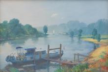 POSSIBLY EDWARD SEAGO (British, 1910-1974) River Scene oil on canvas