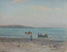WILL ASHTON (1881-1963) At the Beach oil on canvasboard