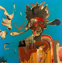 § ANTHONY BENNETT (born 1966) Portrait of Jean-Michel 2006 mixed media on canvas