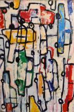 JILL NOBLE, BAD PARKING, 2000, OIL ON LINEN, 97 X 108 CM