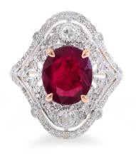 AN ART DECO STYLE TREATED RUBY AND DIAMOND RING