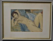 GEORGE BELL (1878-1966) Reclining nude mixed media on paper