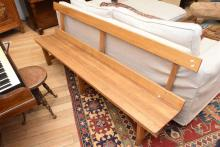 A TASMANIAN OAK CHURCH PEW 85 x 214 x 43cm