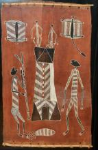ATTRIBUTED TO BILINYARA NABEGEYO, TWO DHUWA WIVES, NATURAL EARTH PIGMENTS ON BARK, 105 X 63CM, PROVENANCE: MANINGRIDA ARTS (LABEL VE...