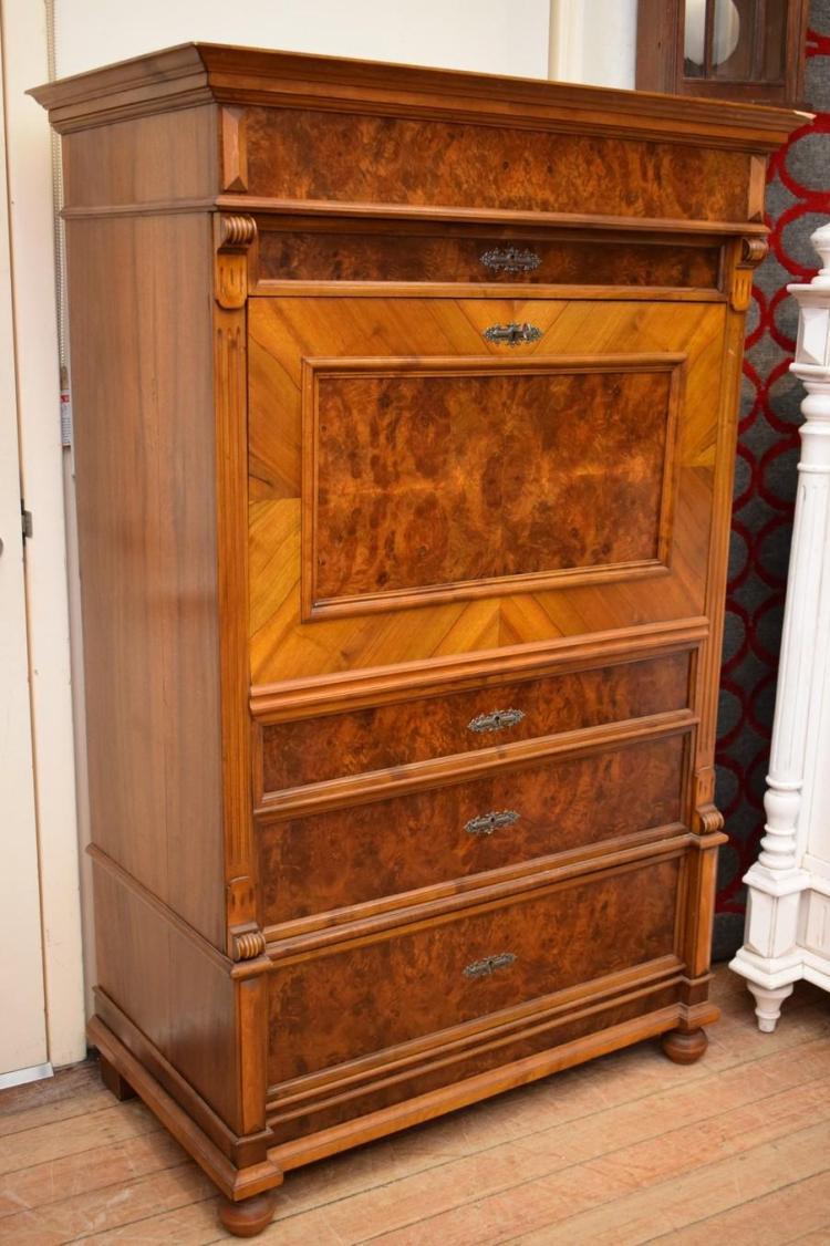 a 19th century beidemeier style flame mahogany drop front bu. Black Bedroom Furniture Sets. Home Design Ideas