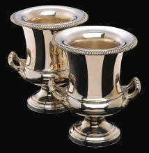 A PAIR OF CONTINENTAL SILVER PLATED WINE COOLERS