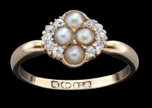 AN ANTIQUE VICTORIAN PEARL AND DIAMOND CLUSTER RING