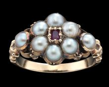 AN ANTIQUE PEARL AND RUBY RING