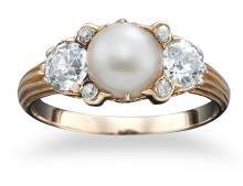 AN ANTIQUE VICTORIAN THREE STONE PEARL AND DIAMOND RING