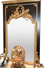 A 19TH CENTURY FRENCH GILDED TRUMEAU MIRROR