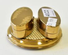 A ORROTON POWDER COMPACT & TWO VINTAGE MAXFACTOR LIPSTICK COMPACTS
