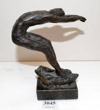 LENORE BOYD, DIVER, BRONZE ON MARBLE BASE,