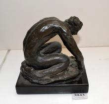 LENORE BOYD, TWO FIGURES, BRONZE ON MARBLE BASE