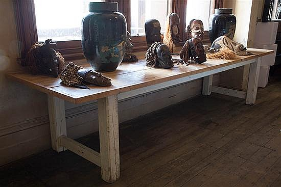 A PLANK-TOPPED REFECTORY TABLE ON PAINTED BASE