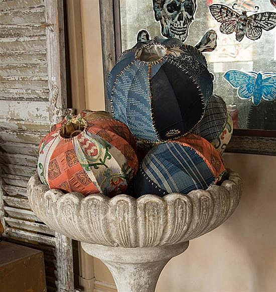 A GROUP OF FIVE PATCHWORK LAMPSHADES